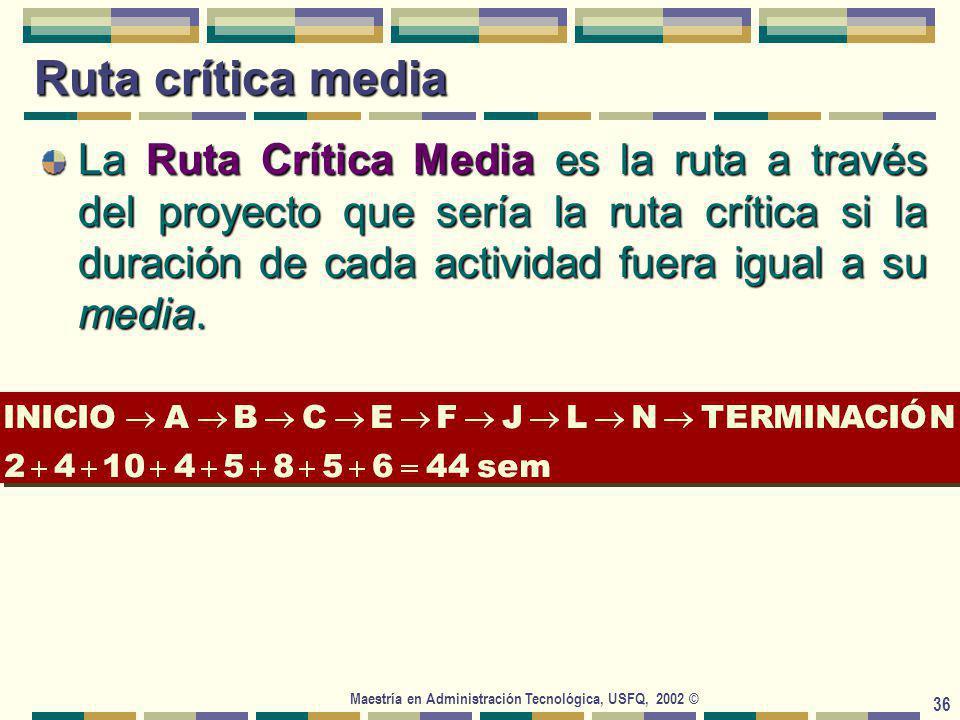 Maestría en Administración Tecnológica, USFQ, 2002 © 36 Ruta crítica media La Ruta Crítica Media es la ruta a través del proyecto que sería la ruta crítica si la duración de cada actividad fuera igual a su media.