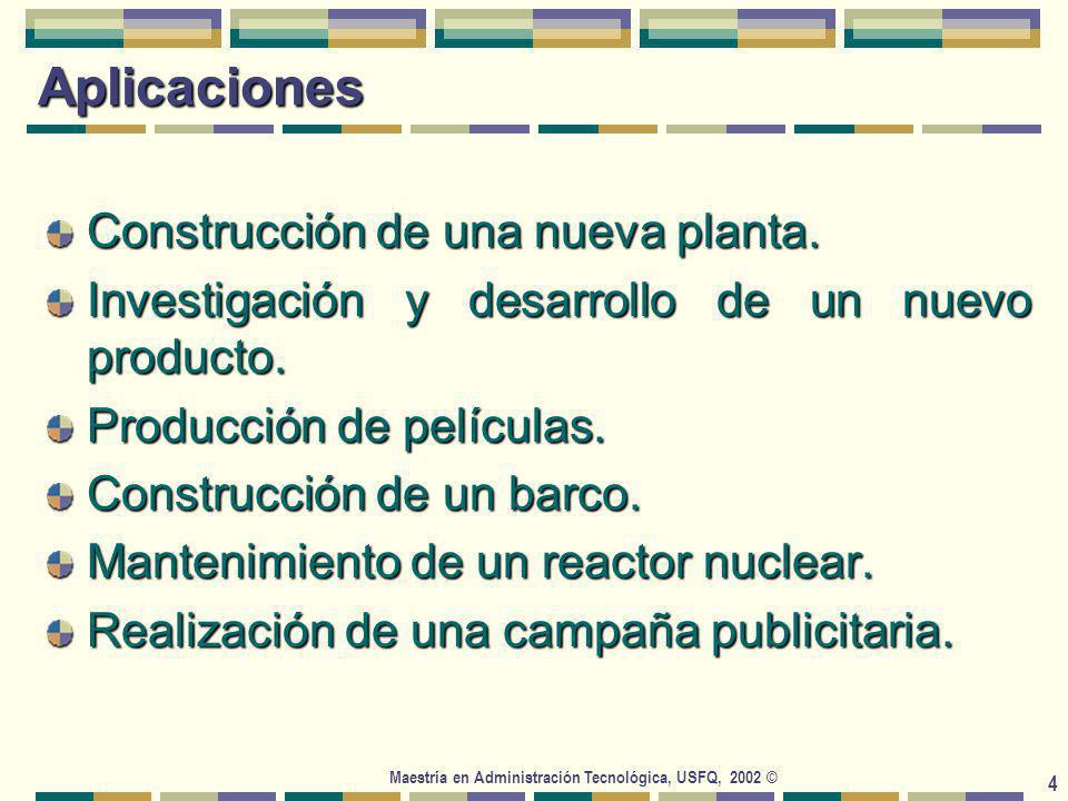 Maestría en Administración Tecnológica, USFQ, 2002 © 4 Aplicaciones Construcción de una nueva planta.