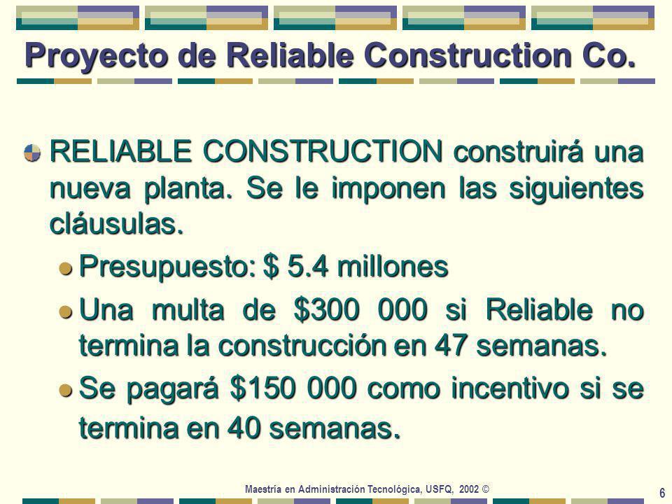 Maestría en Administración Tecnológica, USFQ, 2002 © 37 Aproximaciones Simplificadas 1 y 2 Aprox 1: Suponer que la ruta crítica media resultará la trayectoria más larga a través de la red de proyecto.