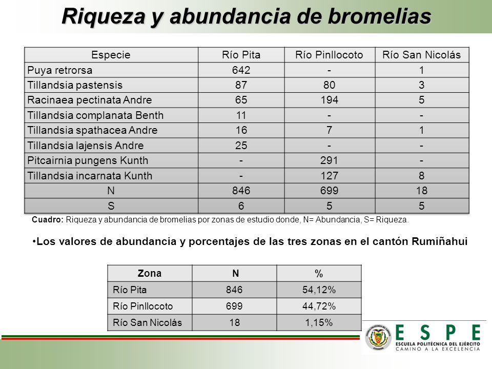 Riqueza y abundancia de bromelias Cuadro: Riqueza y abundancia de bromelias por zonas de estudio donde, N= Abundancia, S= Riqueza. Zona N% Río Pita846
