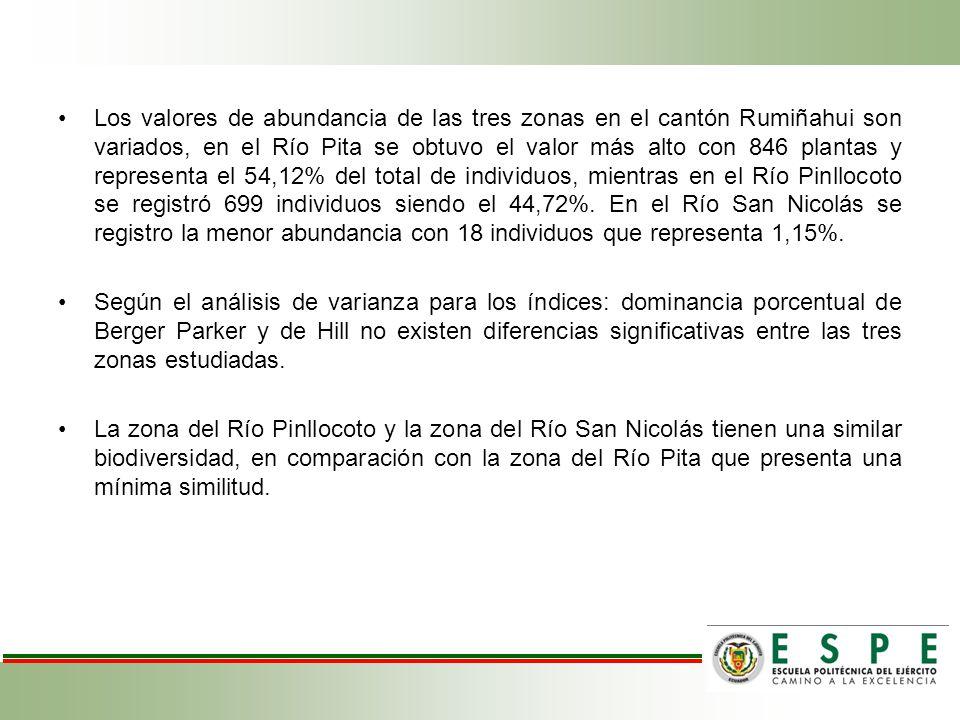 Los valores de abundancia de las tres zonas en el cantón Rumiñahui son variados, en el Río Pita se obtuvo el valor más alto con 846 plantas y representa el 54,12% del total de individuos, mientras en el Río Pinllocoto se registró 699 individuos siendo el 44,72%.