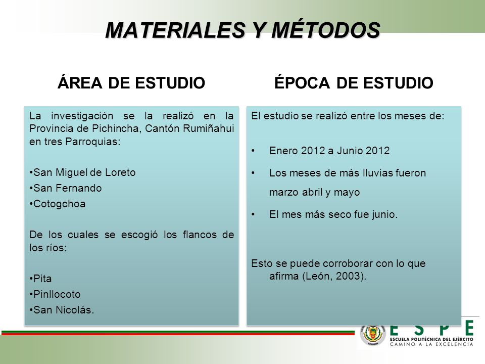MATERIALES Y MÉTODOS ÁREA DE ESTUDIO La investigación se la realizó en la Provincia de Pichincha, Cantón Rumiñahui en tres Parroquias: San Miguel de L