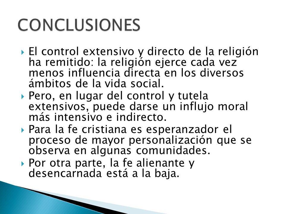 El control extensivo y directo de la religión ha remitido: la religión ejerce cada vez menos influencia directa en los diversos ámbitos de la vida soc