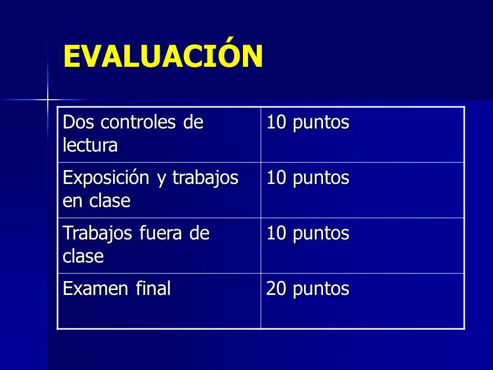 EVALUACIÓN Dos controles de lectura 10 puntos Exposición y trabajos en clase 10 puntos Trabajos fuera de clase 10 puntos Examen final 20 puntos
