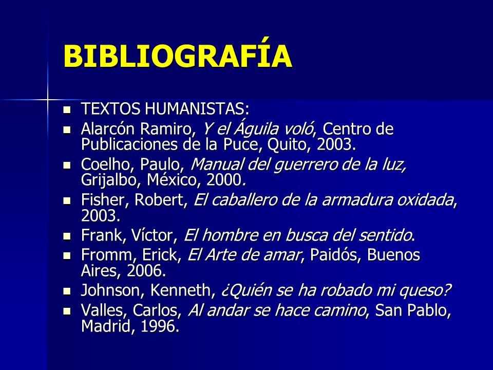 BIBLIOGRAFÍA TEXTOS HUMANISTAS: TEXTOS HUMANISTAS: Alarcón Ramiro, Y el Águila voló, Centro de Publicaciones de la Puce, Quito, 2003. Alarcón Ramiro,