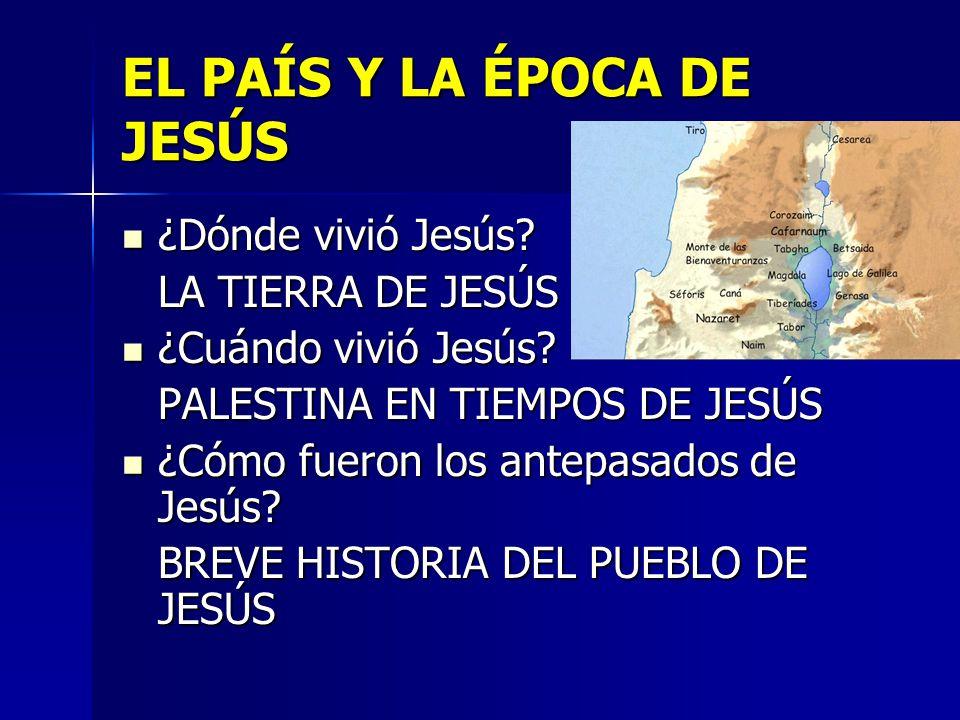 EL PAÍS Y LA ÉPOCA DE JESÚS ¿Dónde vivió Jesús? ¿Dónde vivió Jesús? LA TIERRA DE JESÚS ¿Cuándo vivió Jesús? ¿Cuándo vivió Jesús? PALESTINA EN TIEMPOS