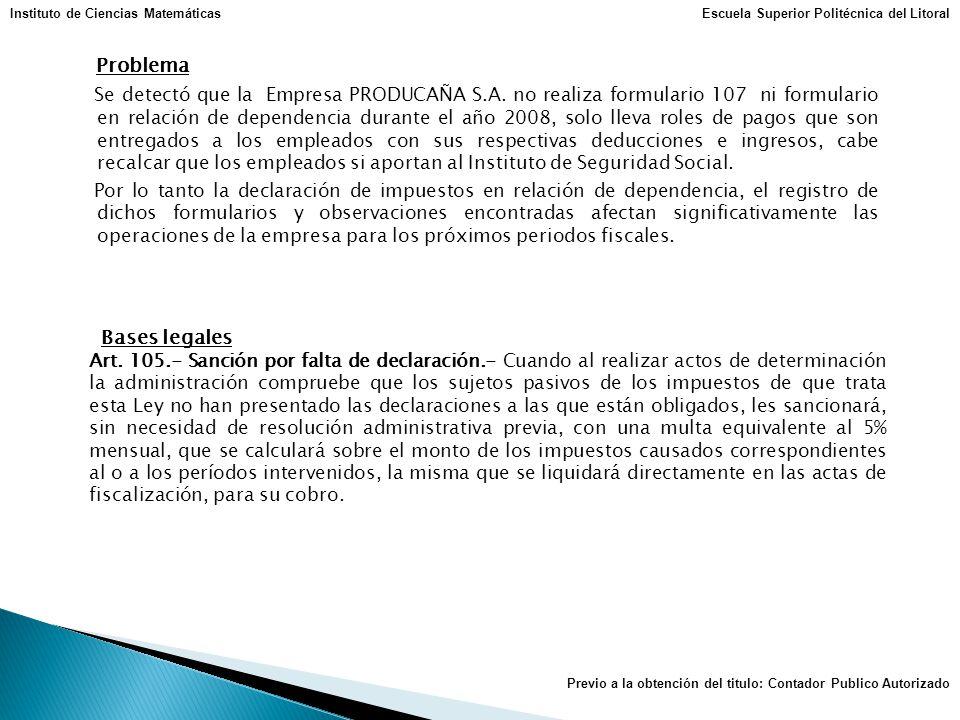 Problema Se detectó que la Empresa PRODUCAÑA S.A. no realiza formulario 107 ni formulario en relación de dependencia durante el año 2008, solo lleva r