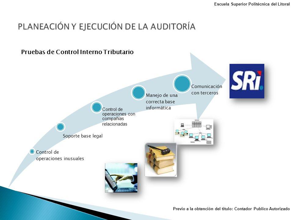 Pruebas de Control Interno Tributario Control de operaciones inusuales Soporte base legal Control de operaciones con compañías relacionadas Manejo de