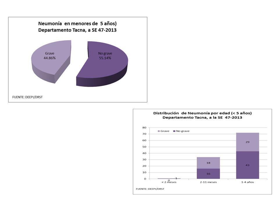 REGION TACNA ACUMULADOS A LA SE 47 - 2013 DE : IRAS, NEUMONIAS, SOB, DEFUNCIONES SEGÚN HOSPITALES Y MICROREDES HOSPITALES / MICROREDES 2013 T.