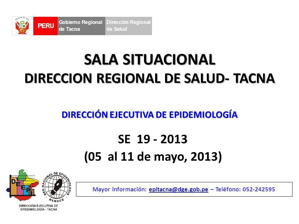 SALA SITUACIONAL DIRECCION REGIONAL DE SALUD- TACNA SE 19 - 2013 (05 al 11 de mayo, 2013) Mayor información: epitacna@dge.gob.pe – Teléfono: 052-242595epitacna@dge.gob.pe DIRECCIÓN EJECUTIVA DE EPIDEMIOLOGÍA