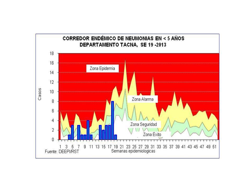 CASOS DE IRAS Y NEUMONIAS POR SEMANAS DEPARTAMENTO TACNA (SE 01 A 19 - 2012 y 2013) SEMANA 20122013 IRAs 1 Tasa x 1000 <5a.