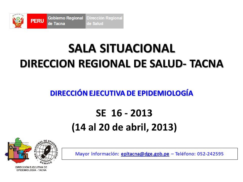 SALA SITUACIONAL DIRECCION REGIONAL DE SALUD- TACNA SE 16 - 2013 (14 al 20 de abril, 2013) Mayor información: epitacna@dge.gob.pe – Teléfono: 052-242595epitacna@dge.gob.pe DIRECCIÓN EJECUTIVA DE EPIDEMIOLOGÍA