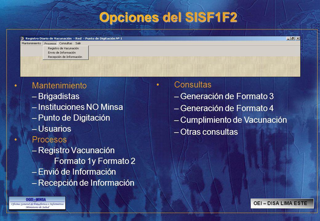 Opciones del SISF1F2 Mantenimiento –Brigadistas –Instituciones NO Minsa –Punto de Digitación –Usuarios Procesos –Registro Vacunación Formato 1y Formato 2 –Envió de Información –Recepción de Información Consultas –Generación de Formato 3 –Generación de Formato 4 –Cumplimiento de Vacunación –Otras consultas OEI – DISA LIMA ESTE
