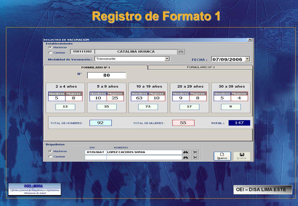 Registro de Formato 1 OEI – DISA LIMA ESTE