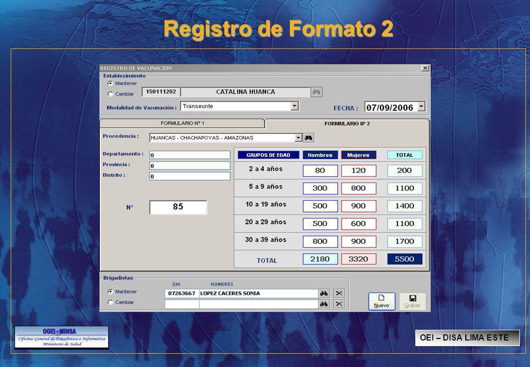 Registro de Formato 2 OEI – DISA LIMA ESTE