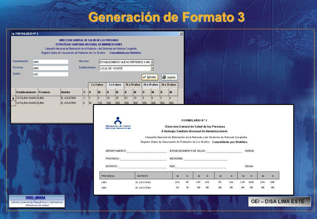 Generación de Formato 3 OEI – DISA LIMA ESTE