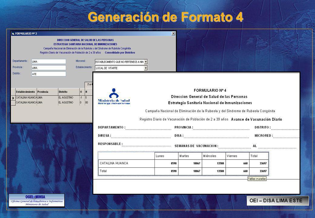 Generación de Formato 4 OEI – DISA LIMA ESTE
