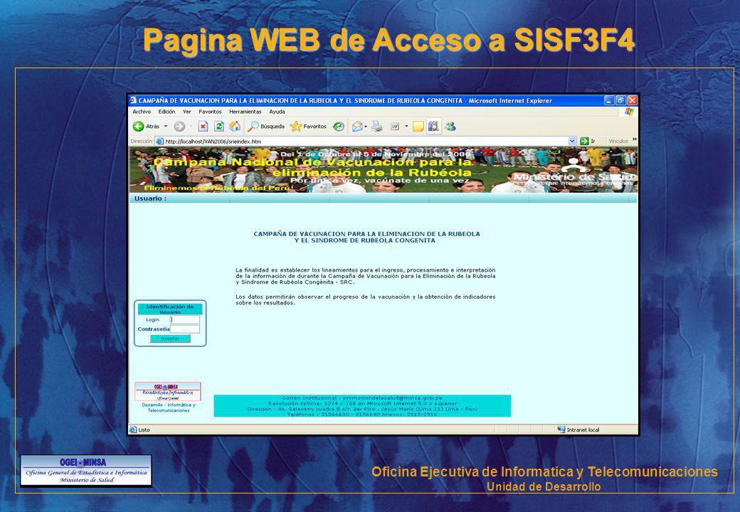 Pagina WEB de Acceso a SISF3F4 Oficina Ejecutiva de Informatica y Telecomunicaciones Unidad de Desarrollo
