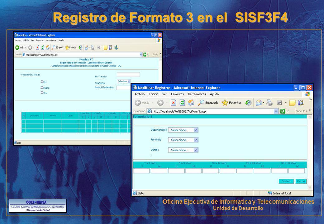 Registro de Formato 3 en el SISF3F4 Oficina Ejecutiva de Informatica y Telecomunicaciones Unidad de Desarrollo