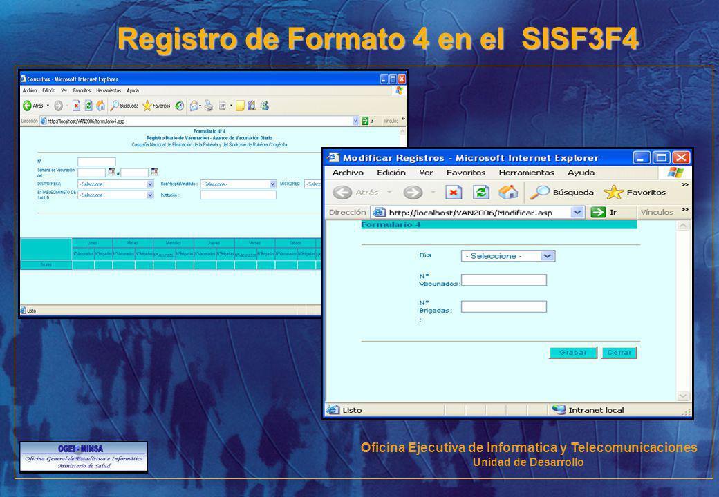 Registro de Formato 4 en el SISF3F4 Oficina Ejecutiva de Informatica y Telecomunicaciones Unidad de Desarrollo