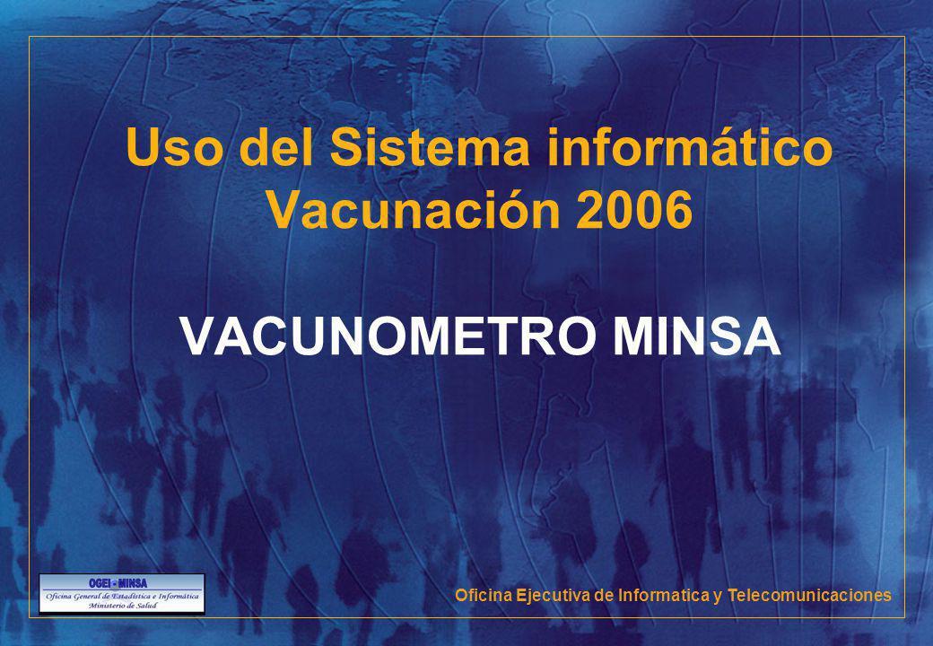 Uso del Sistema informático Vacunación 2006 VACUNOMETRO MINSA Oficina Ejecutiva de Informatica y Telecomunicaciones