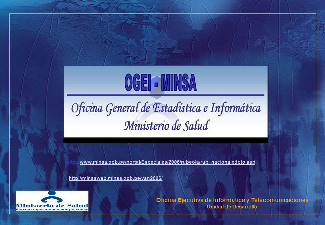 Oficina Ejecutiva de Informatica y Telecomunicaciones Unidad de Desarrollo http://www.minsa.gob.pe/portal/Especiales/2006/rubeola/rub_nacionalxdpto.as