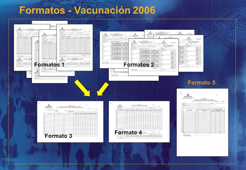Formatos - Vacunación 2006 Formato 5 Formatos 1Formatos 2 Formato 4 Formato 3