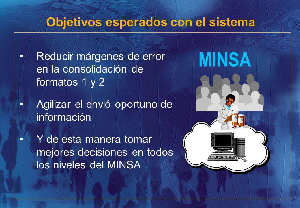 Reducir márgenes de error en la consolidación de formatos 1 y 2 Agilizar el envió oportuno de información Y de esta manera tomar mejores decisiones en todos los niveles del MINSA MINSA Objetivos esperados con el sistema