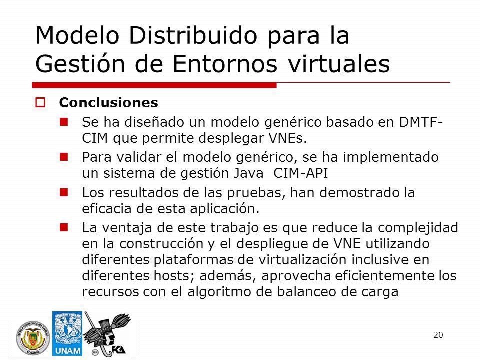 20 Modelo Distribuido para la Gestión de Entornos virtuales Conclusiones Se ha diseñado un modelo genérico basado en DMTF- CIM que permite desplegar VNEs.