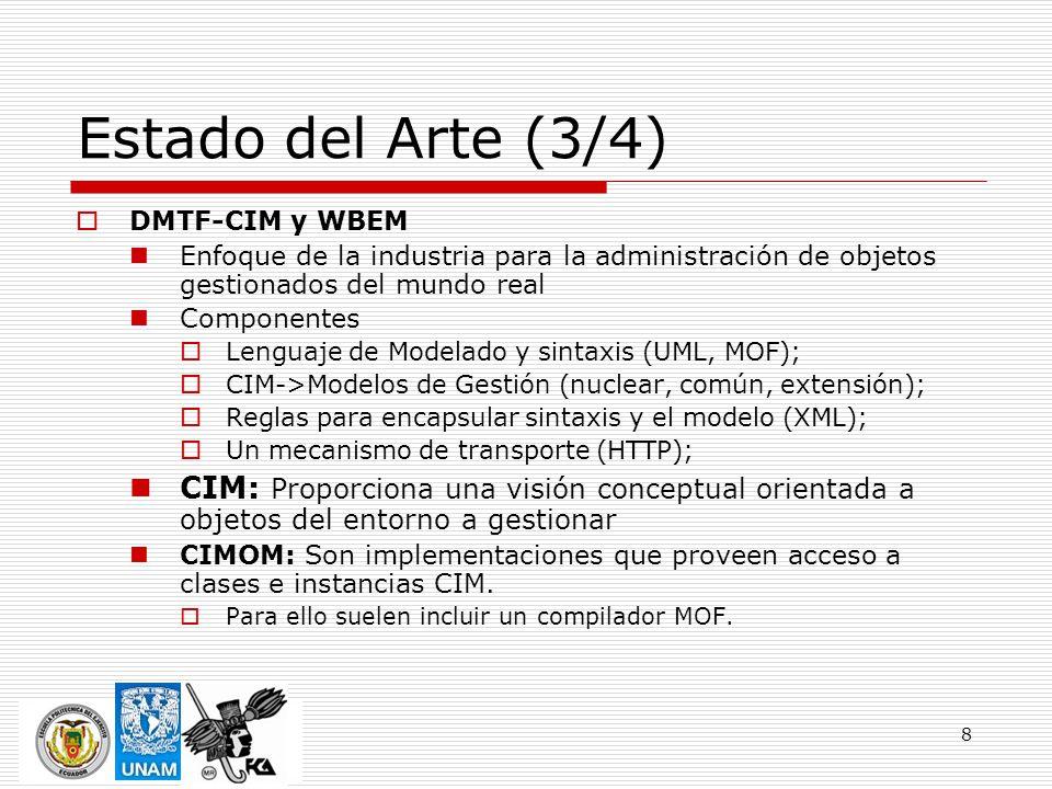 8 Estado del Arte (3/4) DMTF-CIM y WBEM Enfoque de la industria para la administración de objetos gestionados del mundo real Componentes Lenguaje de M