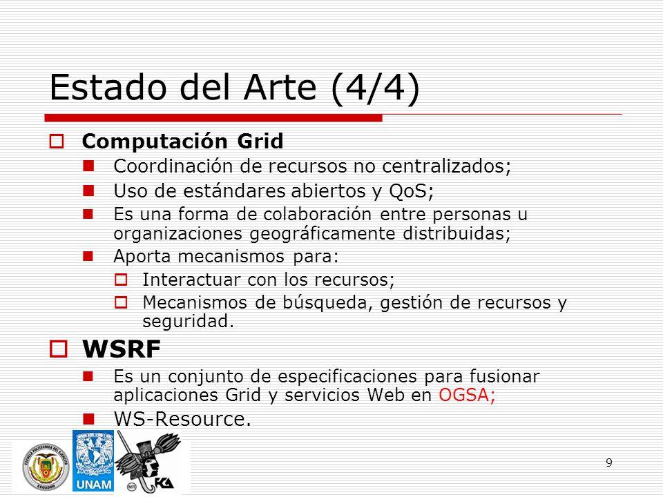 9 Estado del Arte (4/4) Computación Grid Coordinación de recursos no centralizados; Uso de estándares abiertos y QoS; Es una forma de colaboración ent