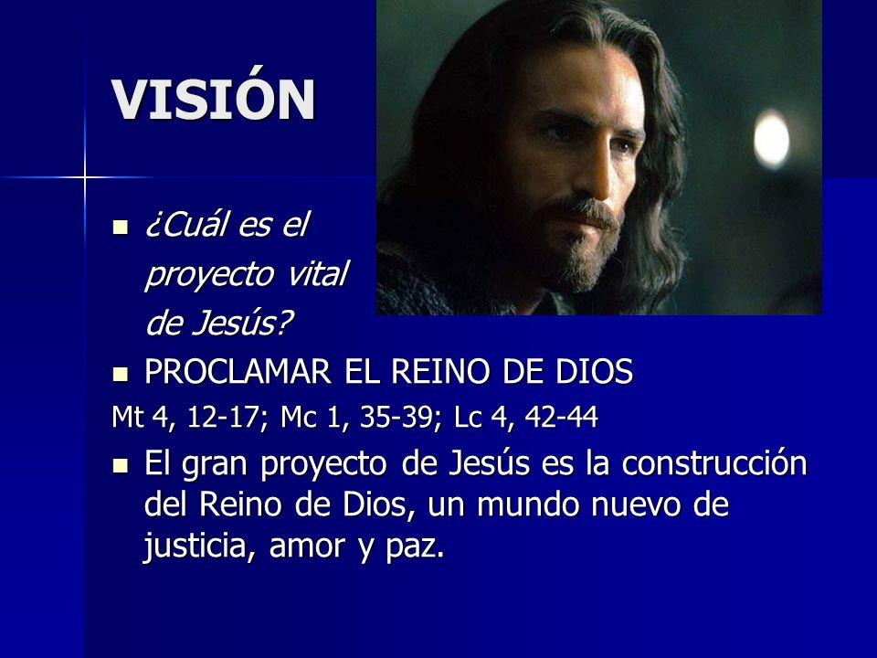 VISIÓN ¿Cuál es el ¿Cuál es el proyecto vital de Jesús? PROCLAMAR EL REINO DE DIOS PROCLAMAR EL REINO DE DIOS Mt 4, 12-17; Mc 1, 35-39; Lc 4, 42-44 El
