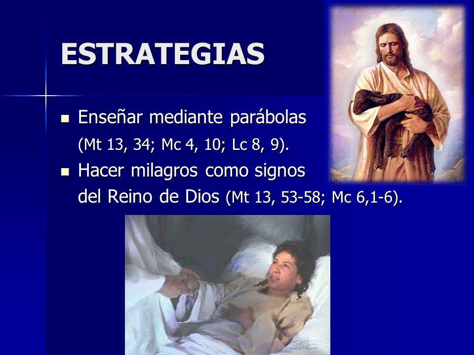 ESTRATEGIAS Enseñar mediante parábolas Enseñar mediante parábolas (Mt 13, 34; Mc 4, 10; Lc 8, 9). Hacer milagros como signos Hacer milagros como signo