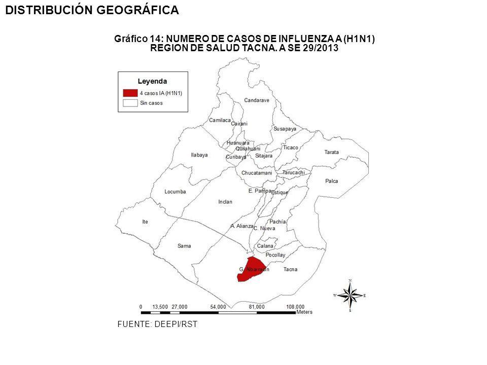 DISTRIBUCIÓN GEOGRÁFICA REGION DE SALUD TACNA. A SE 29/2013 Gráfico 14: NUMERO DE CASOS DE INFLUENZA A (H1N1) FUENTE: DEEPI/RST