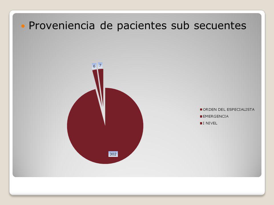Proveniencia de pacientes sub secuentes