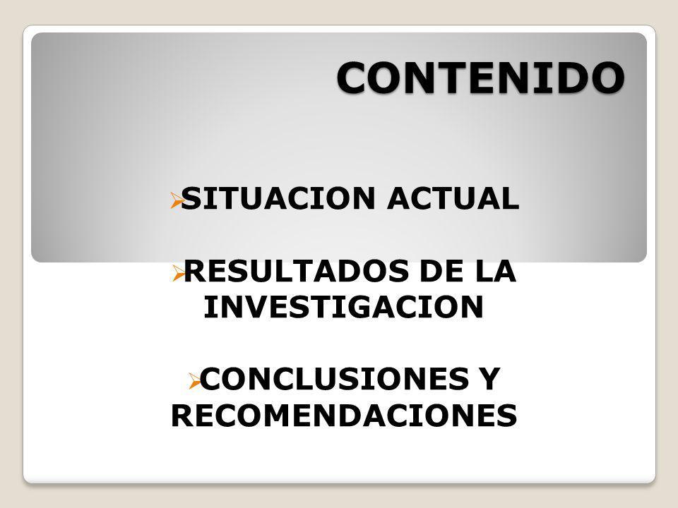 CONTENIDO SITUACION ACTUAL RESULTADOS DE LA INVESTIGACION CONCLUSIONES Y RECOMENDACIONES