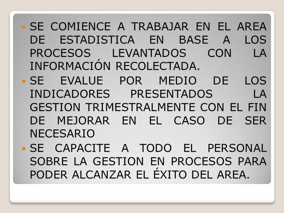 SE COMIENCE A TRABAJAR EN EL AREA DE ESTADISTICA EN BASE A LOS PROCESOS LEVANTADOS CON LA INFORMACIÓN RECOLECTADA.