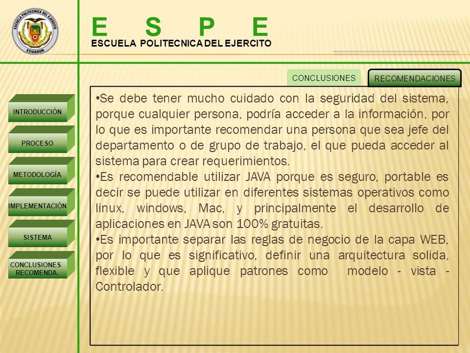 E S P E ESCUELA POLITECNICA DEL EJERCITO INTRODUCCIÓN PROCESO METODOLOGÍA IMPLEMENTACIÓN SISTEMA CONCLUSIONES RECOMENDA.