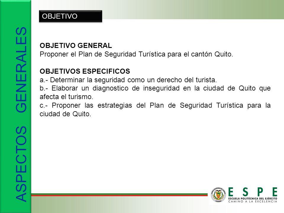 OBJETIVO OBJETIVO GENERAL Proponer el Plan de Seguridad Turística para el cantón Quito.