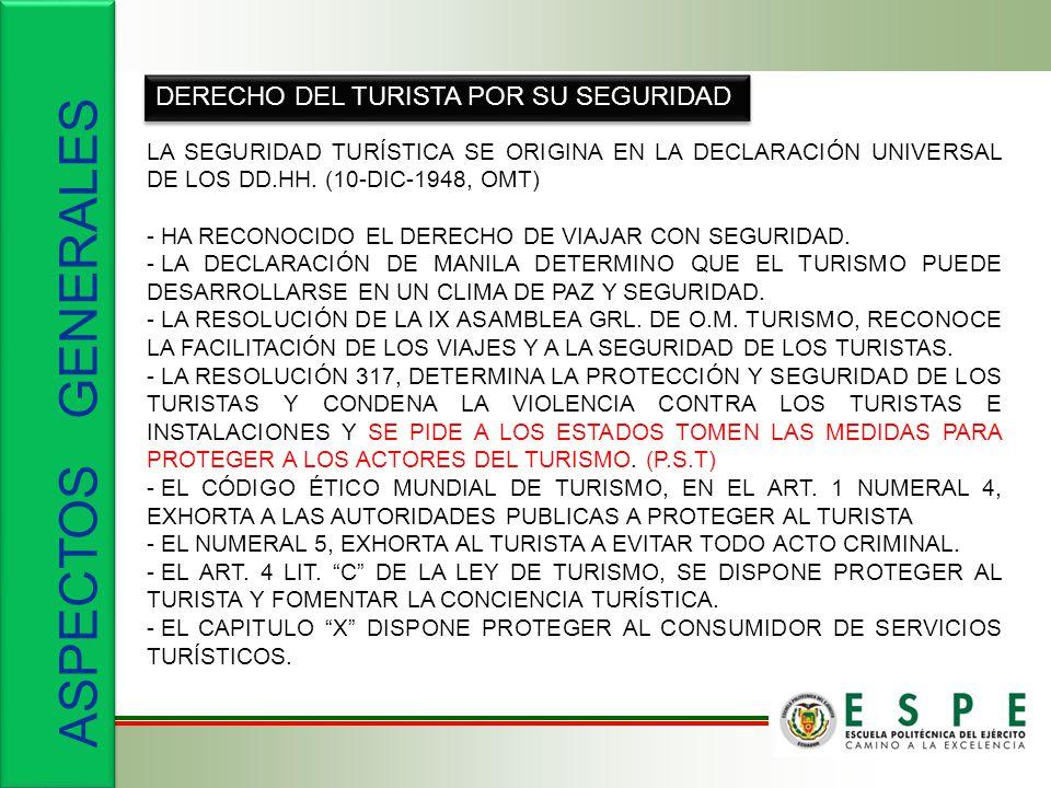 DERECHO DEL TURISTA POR SU SEGURIDAD LA SEGURIDAD TURÍSTICA SE ORIGINA EN LA DECLARACIÓN UNIVERSAL DE LOS DD.HH. (10-DIC-1948, OMT) - HA RECONOCIDO EL