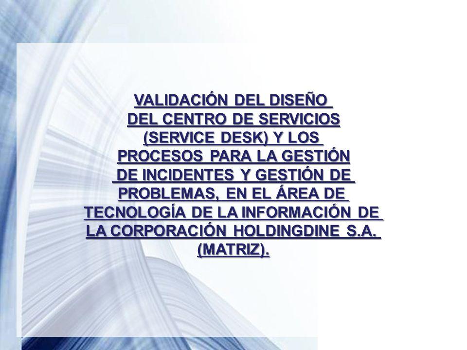 Powerpoint Templates Page 37 VALIDACIÓN DEL DISEÑO DEL CENTRO DE SERVICIOS (SERVICE DESK) Y LOS PROCESOS PARA LA GESTIÓN DE INCIDENTES Y GESTIÓN DE DE