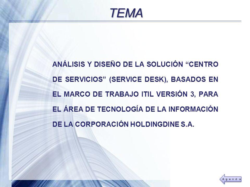 Powerpoint Templates Page 4 ANÁLISIS Y DISEÑO DE LA SOLUCIÓN CENTRO DE SERVICIOS (SERVICE DESK), BASADOS EN EL MARCO DE TRABAJO ITIL VERSIÓN 3, PARA E
