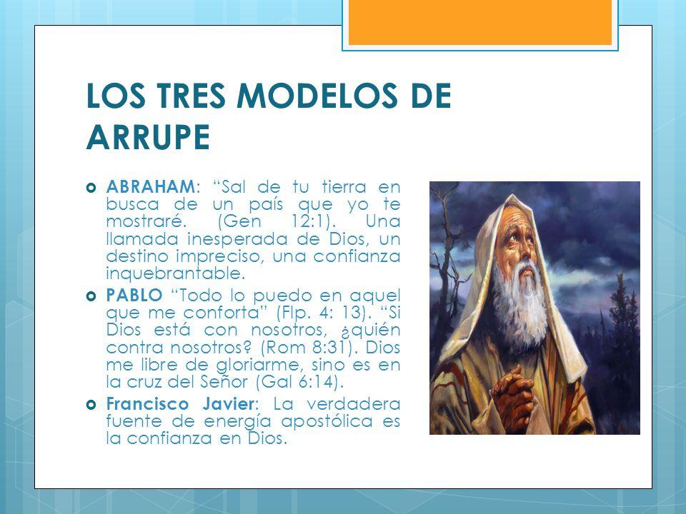 LOS TRES MODELOS DE ARRUPE ABRAHAM : Sal de tu tierra en busca de un país que yo te mostraré. (Gen 12:1). Una llamada inesperada de Dios, un destino i