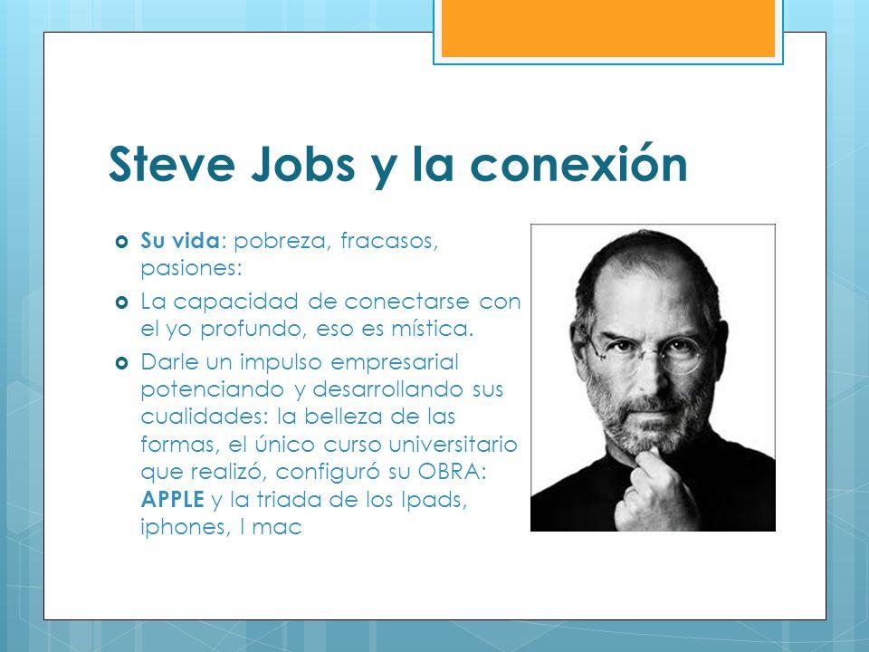 Steve Jobs y la conexión Su vida : pobreza, fracasos, pasiones: La capacidad de conectarse con el yo profundo, eso es mística. Darle un impulso empres