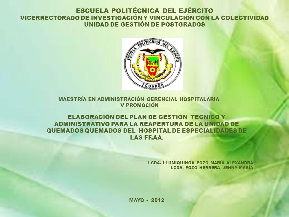 LA UNIDAD DE QUEMADOS DEBE CONTAR CON LA SIGUIENTE DOTACIÓN DE EQUIPO MÉDICO ELABORACIÓN DEL PLAN DE GESTIÓN TÉCNICO Y ADMINISTRATIVO PARA LA REAPERTURA DE LA UNIDAD DE QUEMADOS DEL HOSPITAL DE ESPECIALIDADES DE LAS FF.AA.