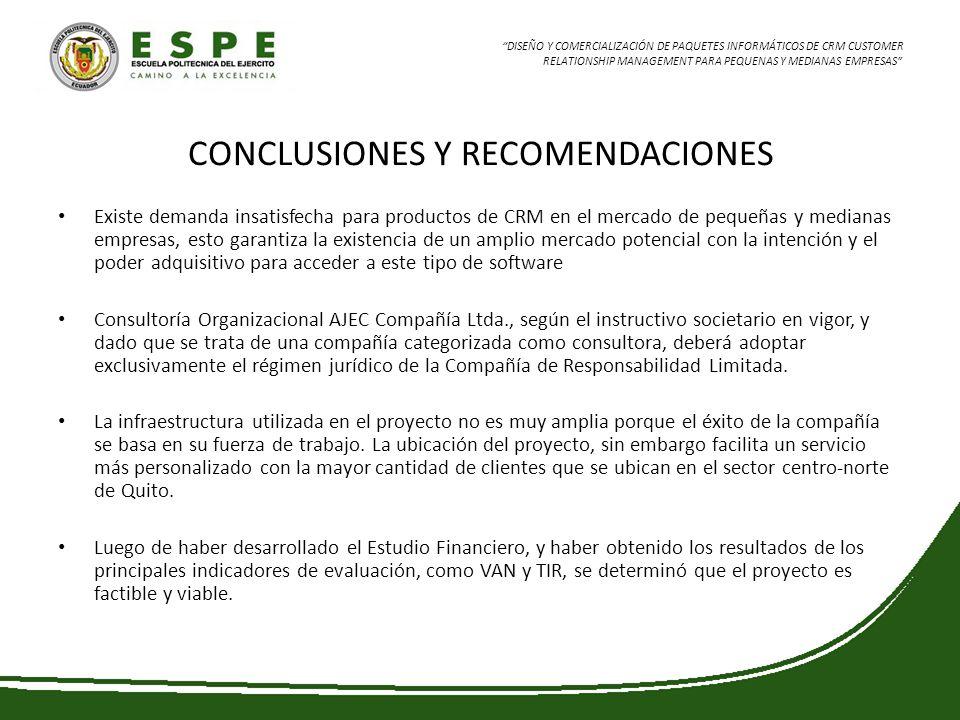 DISEÑO Y COMERCIALIZACIÓN DE PAQUETES INFORMÁTICOS DE CRM CUSTOMER RELATIONSHIP MANAGEMENT PARA PEQUENAS Y MEDIANAS EMPRESAS CONCLUSIONES Y RECOMENDAC
