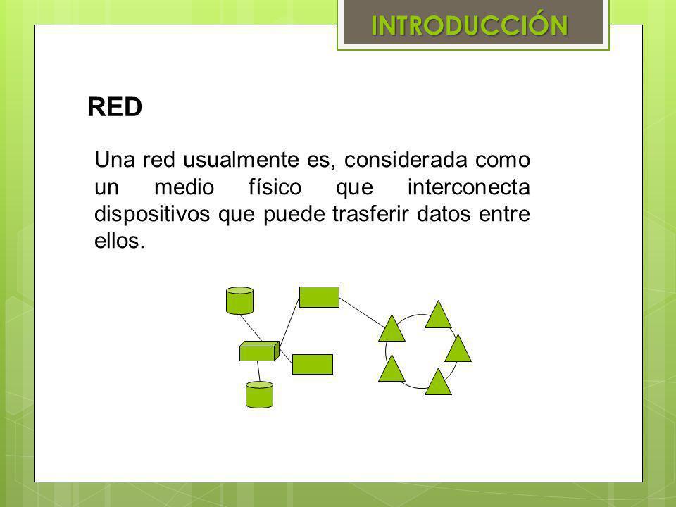 INTRODUCCIÓN RED Una red usualmente es, considerada como un medio físico que interconecta dispositivos que puede trasferir datos entre ellos.
