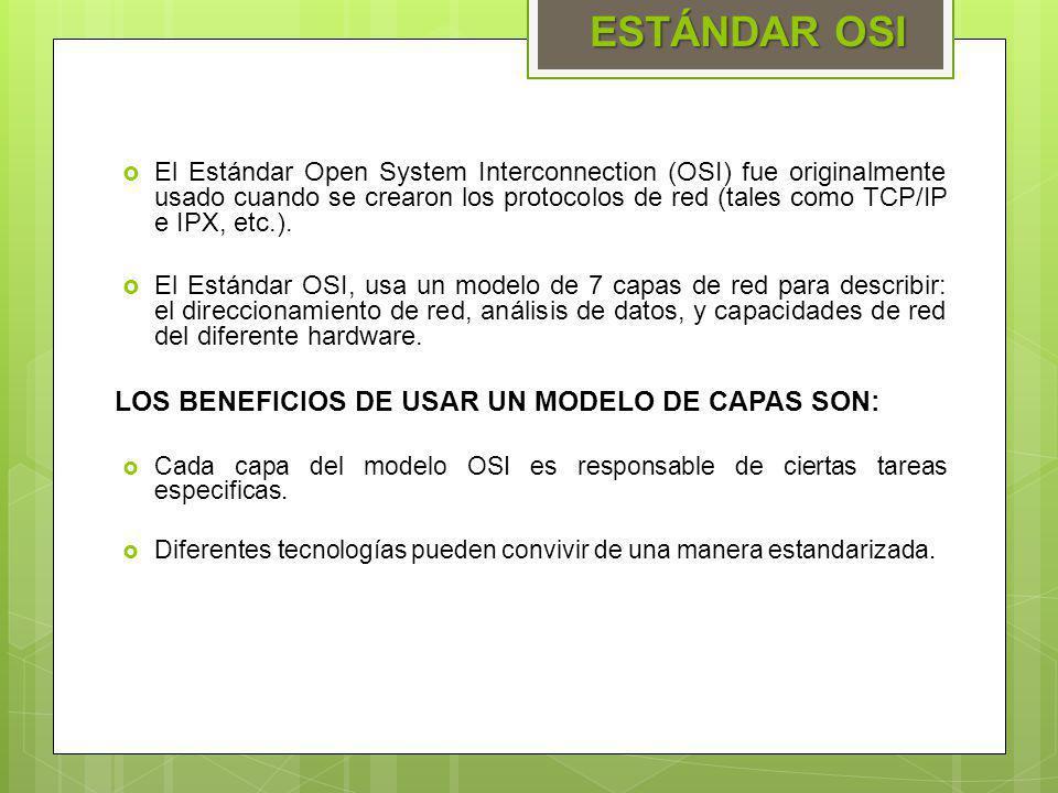 El Estándar Open System Interconnection (OSI) fue originalmente usado cuando se crearon los protocolos de red (tales como TCP/IP e IPX, etc.). El Está
