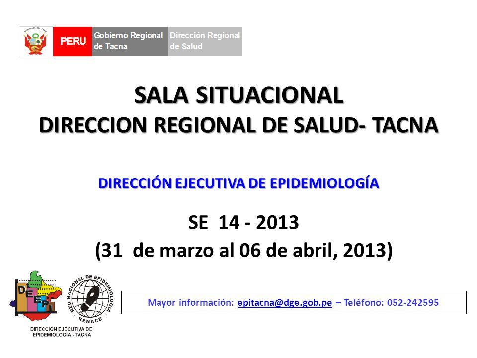 SALA SITUACIONAL DIRECCION REGIONAL DE SALUD- TACNA SE 14 - 2013 (31 de marzo al 06 de abril, 2013) Mayor información: epitacna@dge.gob.pe – Teléfono: 052-242595epitacna@dge.gob.pe DIRECCIÓN EJECUTIVA DE EPIDEMIOLOGÍA