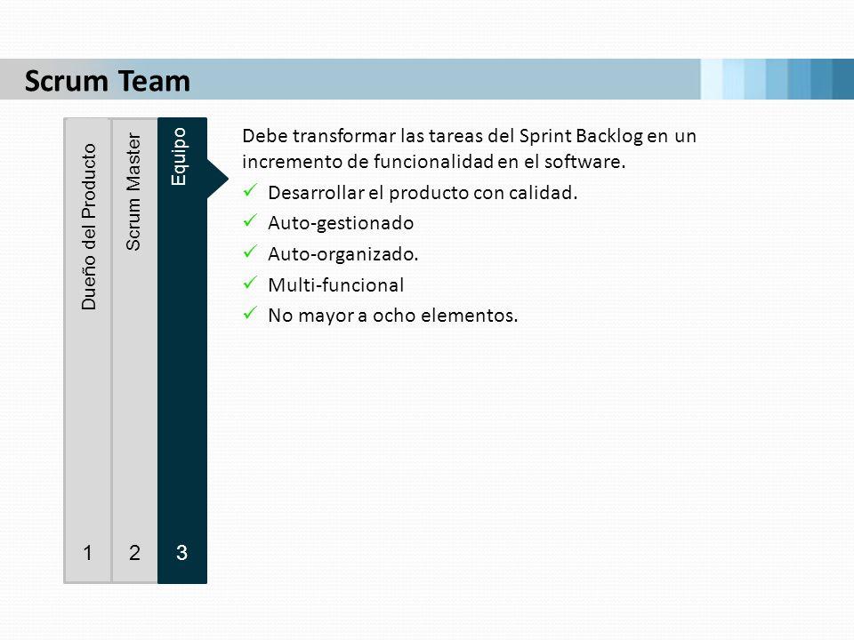 Debe transformar las tareas del Sprint Backlog en un incremento de funcionalidad en el software. Desarrollar el producto con calidad. Auto-gestionado